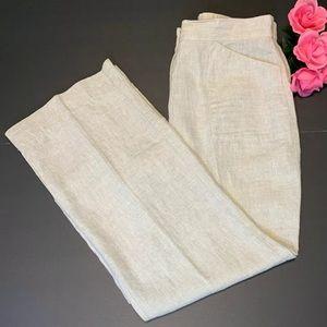 Chicos Pants Small Full Size 0.5 100% Linen Khaki